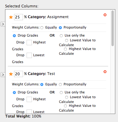 enter the weight for each column or category