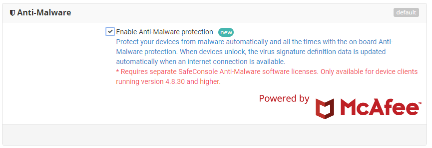 Anti-Malware Policy in SafeConsole