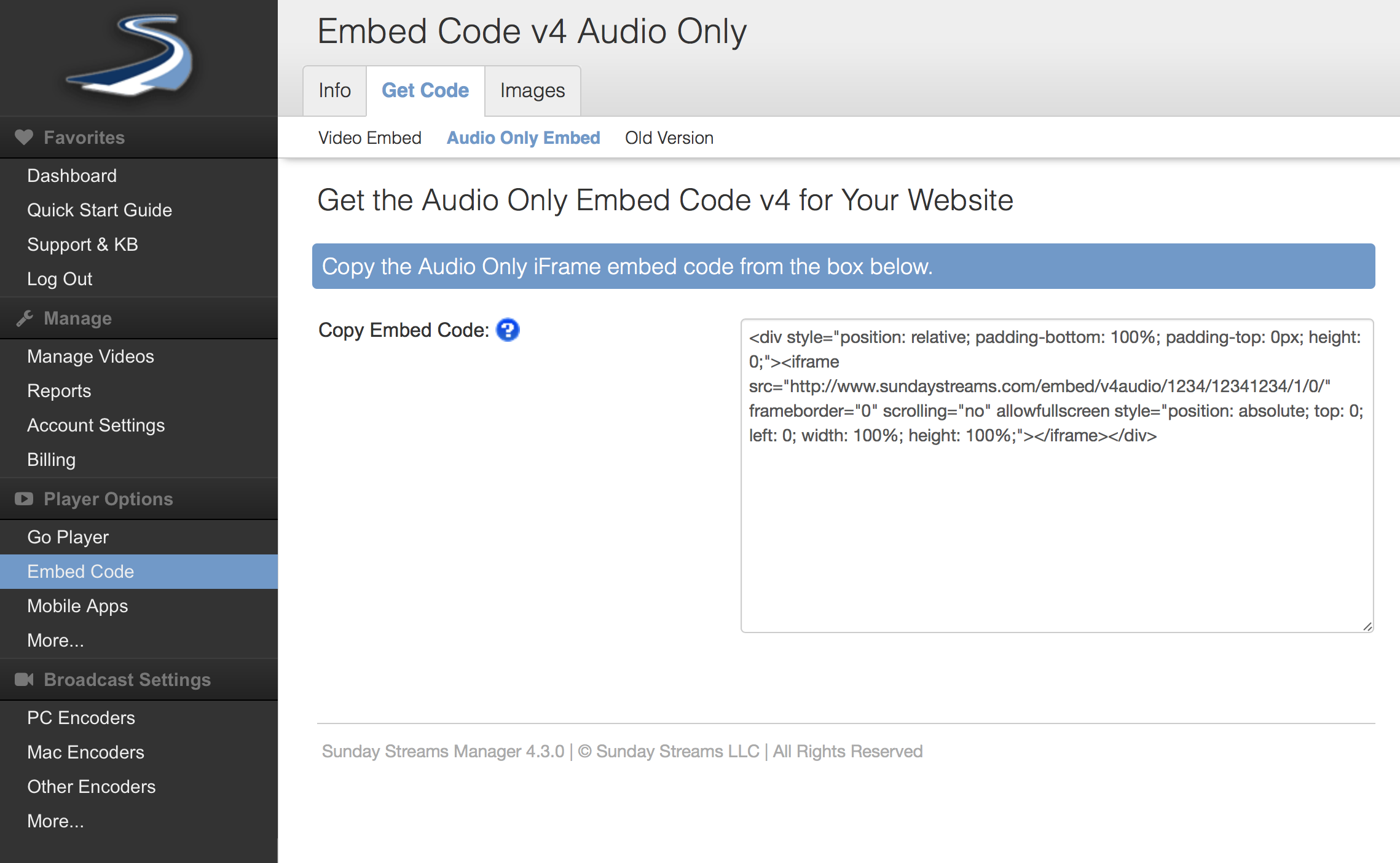 Embed audio only player on your website (v 1 0) : Sunday Streams Support