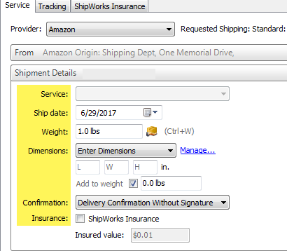 Verify That Amazon Is Selected As The Provider. Then, Configure The  Shipment By Selecting The Service:, Weight:, Dimensions:, Confirmation: And  Insurance: ...