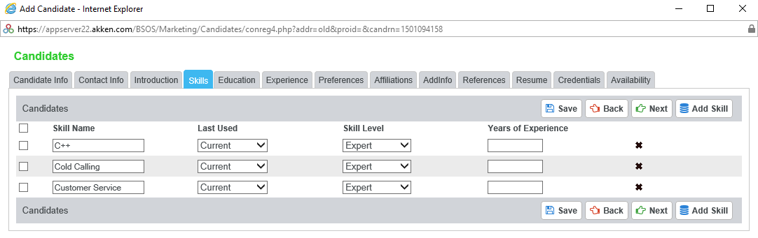 Skills Added From The List Of Managed Skills Are Displayed On The Candidate  Screen With Skill Type As U201cManagedu201d. They Can Be Deleted By Selecting The  Check ...  List Of Special Skills For Resume