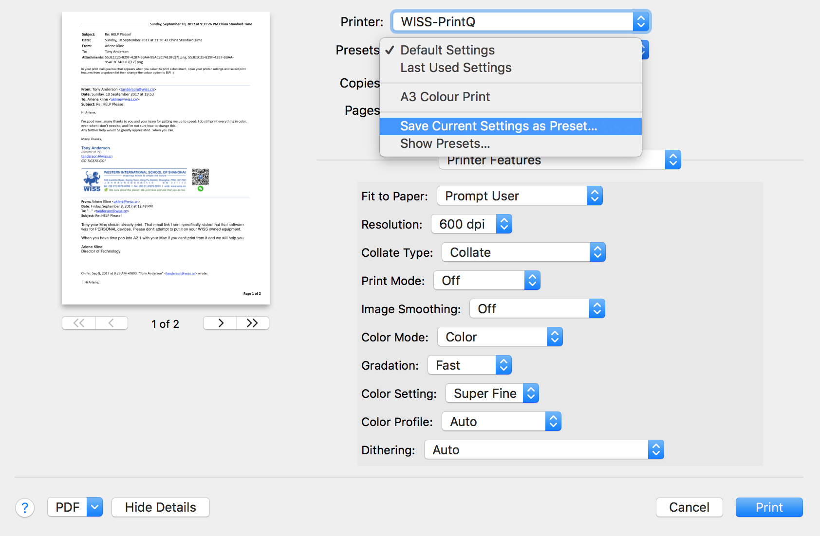 How do I change printer presets / preferences on a Mac? : WISS IT