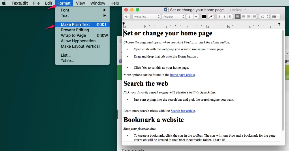 How to convert a document into plain text in TextEdit on a Mac