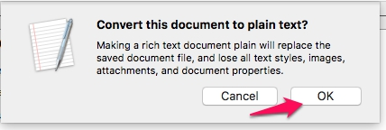 How to convert a document into plain text in TextEdit on a