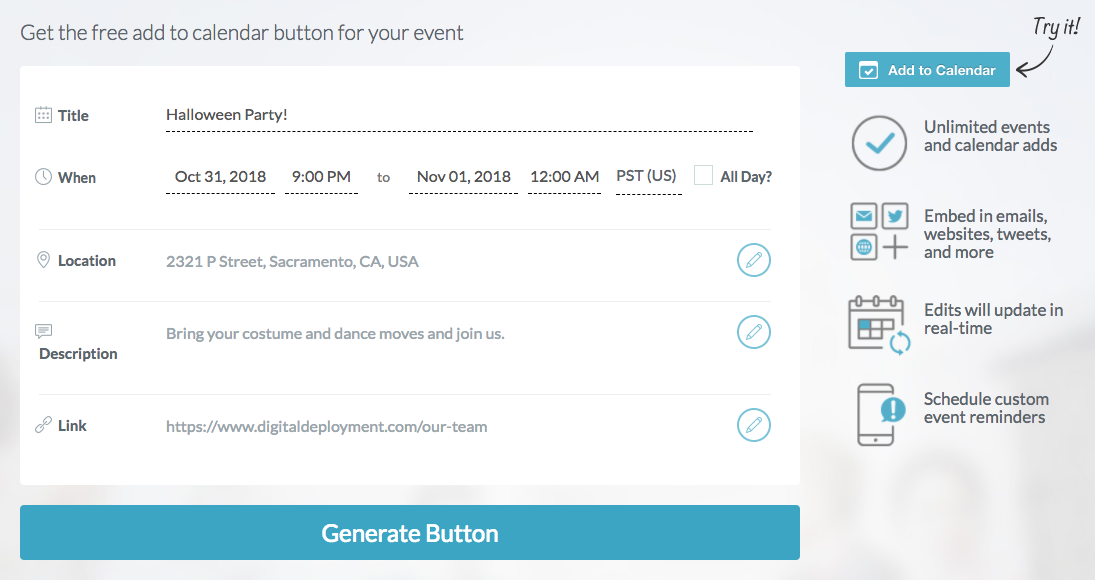 How to add an event to your calendar button to any post : Digital