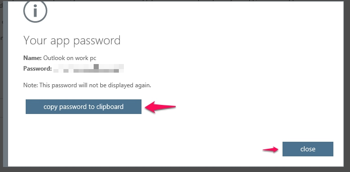 Office 365 multi-factor authentication app passwords : Information