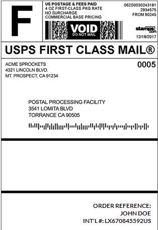 New International FirstClass Label Format ShipWorks Support - Postage label template