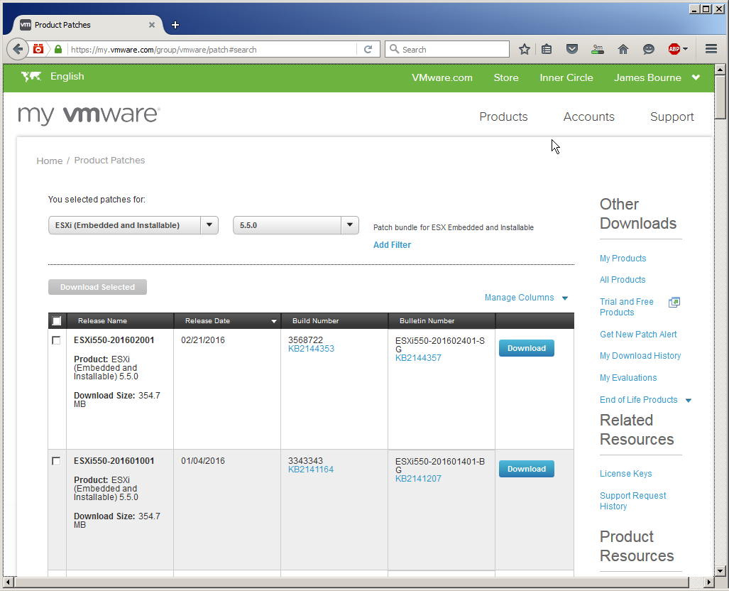 vmware download esxi 5.5 update 3