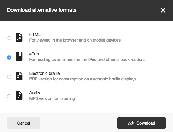 select alternative format type: HTML, ePub, electronic braille, or audio