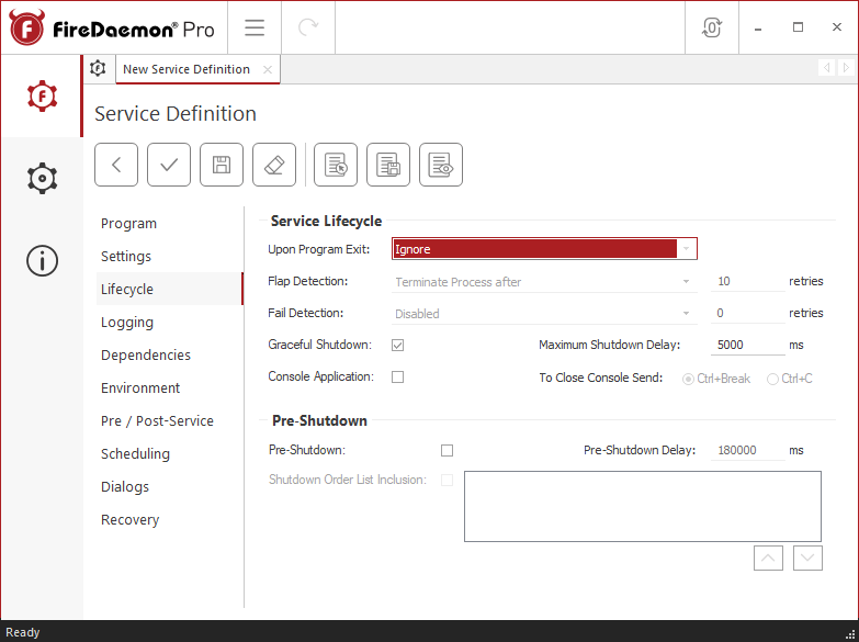 FireDaemon Pro Service Lifecycle