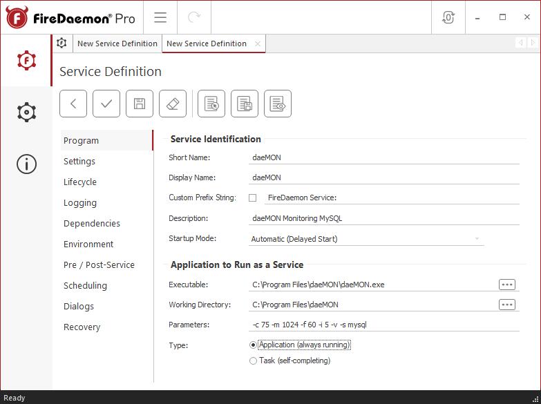 FireDaemon Pro New Service Definition