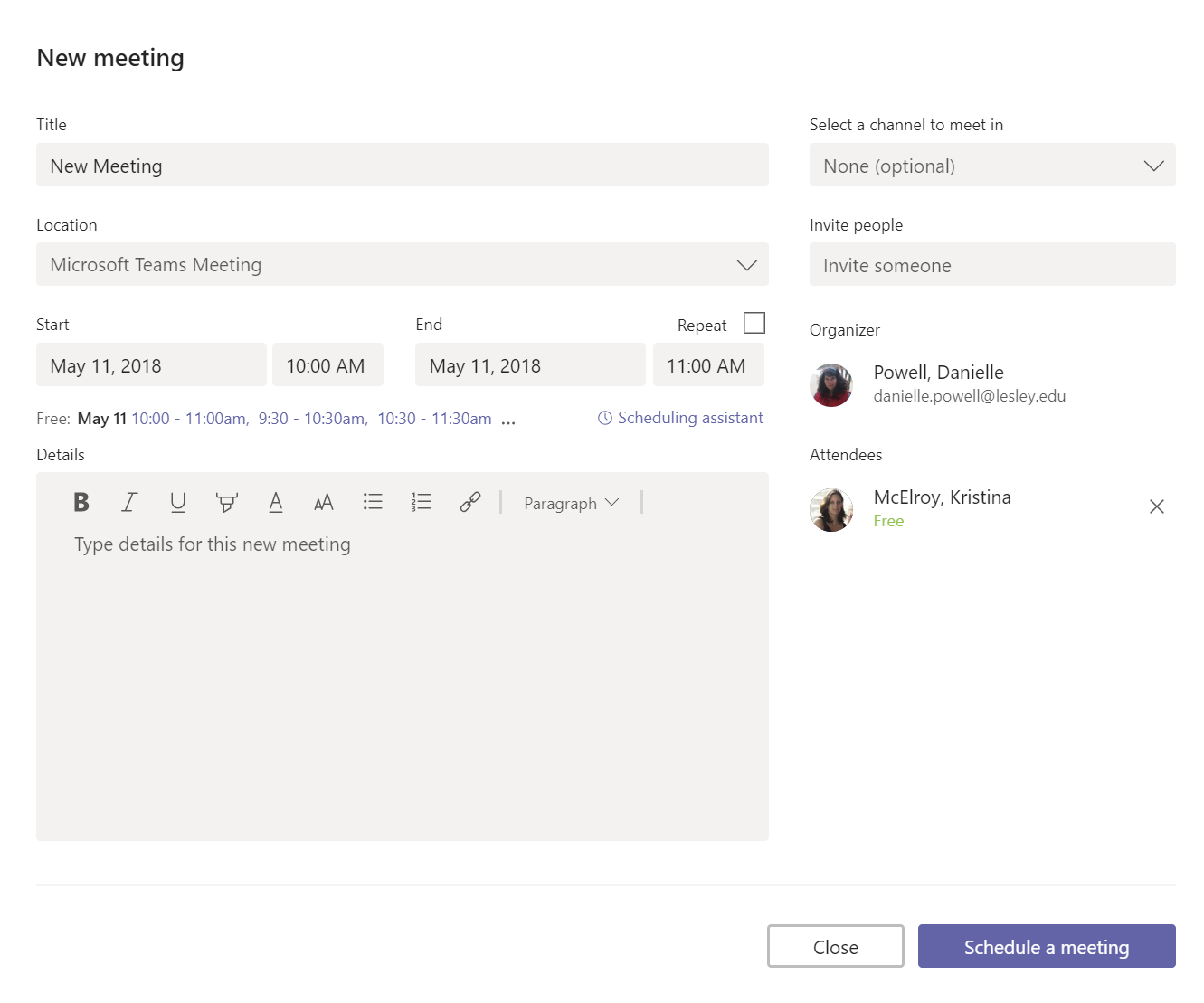 Screenshot: create meeting