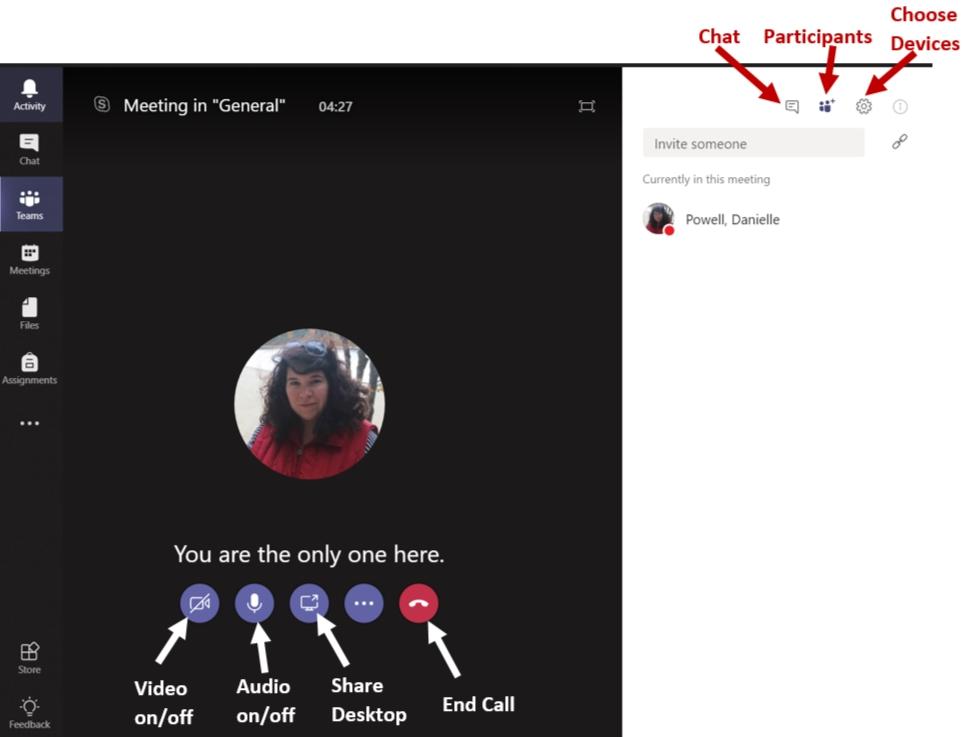 Screenshot: Teams meeting window