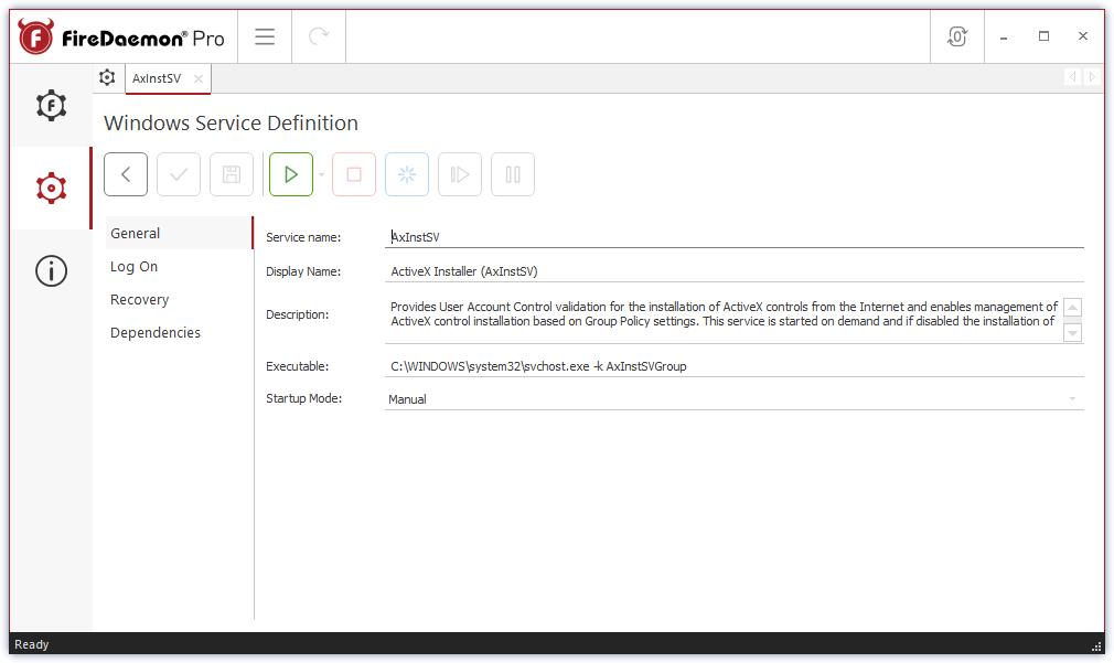 FireDaemon Pro 4 - Windows Service Definition