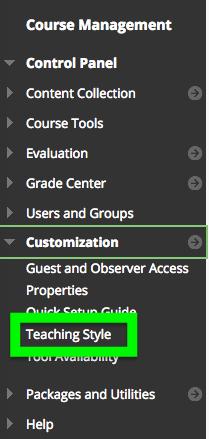 Screenshot of course control panel