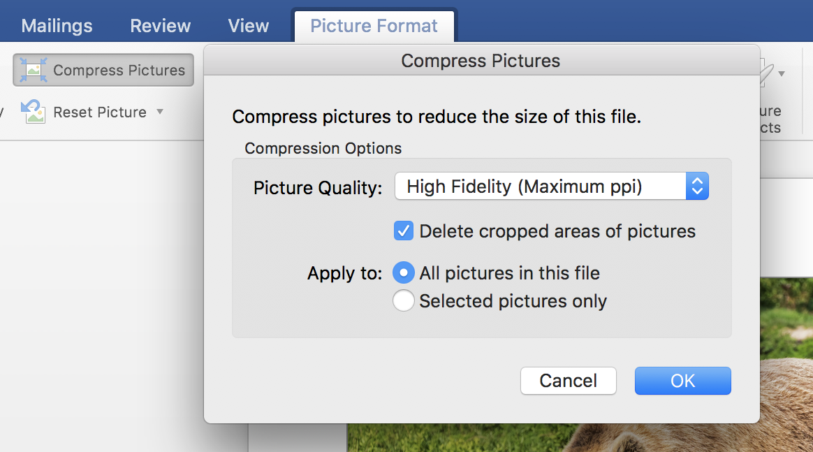 You Can Compress Images Further Using Built In Word Features Select How Much Want To The File But This Will Of Course Impact