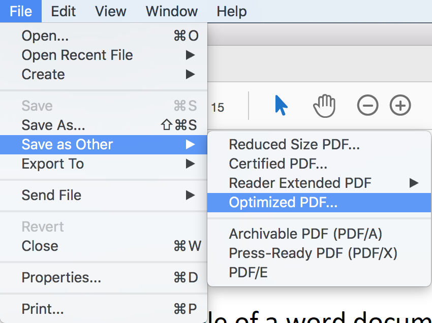 """Using the """"File"""" menu to save an optimised PDF."""