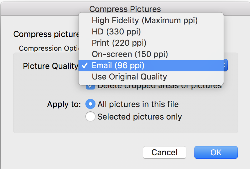 Setting the image quality.