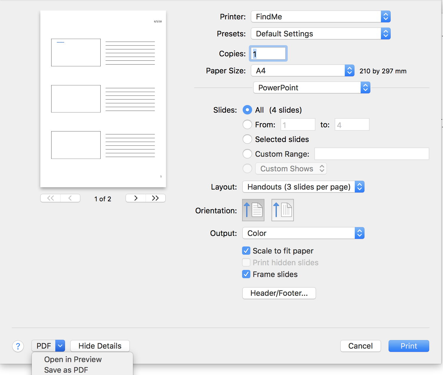 The print settings to save as a PDF.