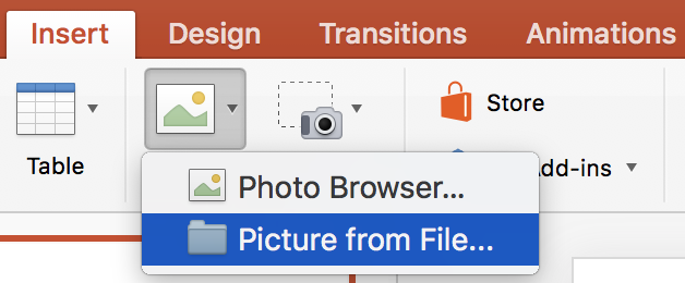 "Selecting ""Picture from File..."" from the PowerPoint ribbon menu."