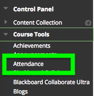 Screenshot of accessing Attendance tool in course menu