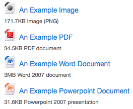 A selection of file icons including Word and PDF.