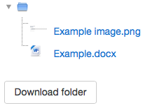 """An example of downloading a folder by clicking the """"Download folder"""" button."""
