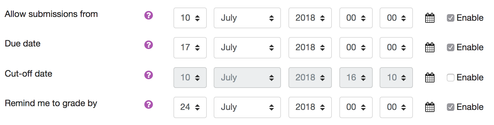 Specifying dates in the Assignment Activity settings panel