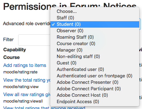 "Selecting ""Students"" in the Permissions dialogue box."