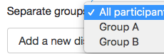 Selecting a group for a Forum.