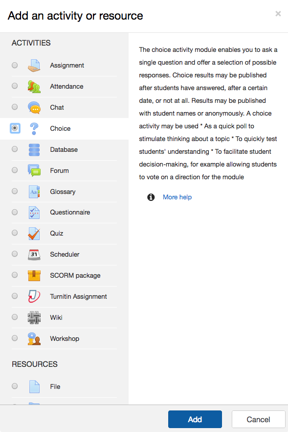 Image of the Learning Space Activity selection menu.