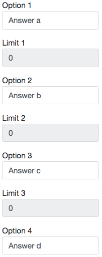 Image of the choices for the Choice Activity being set.