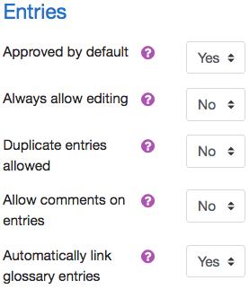 Entries menu to adjust key settings.