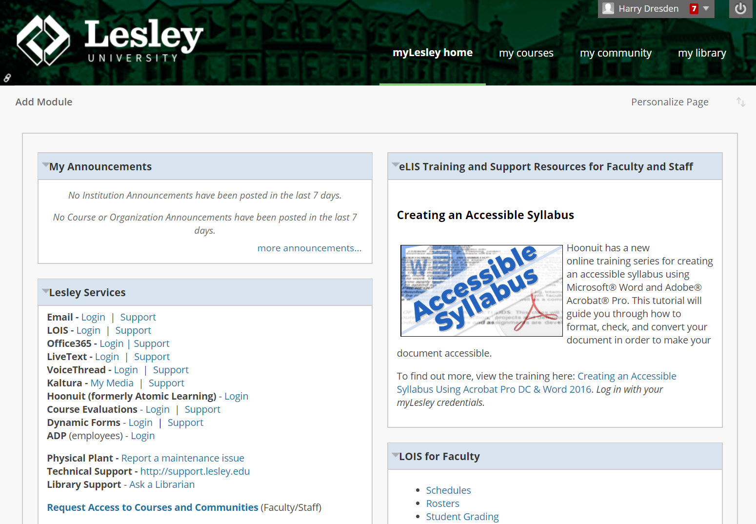 screenshot of myLesley home page for faculty/staff
