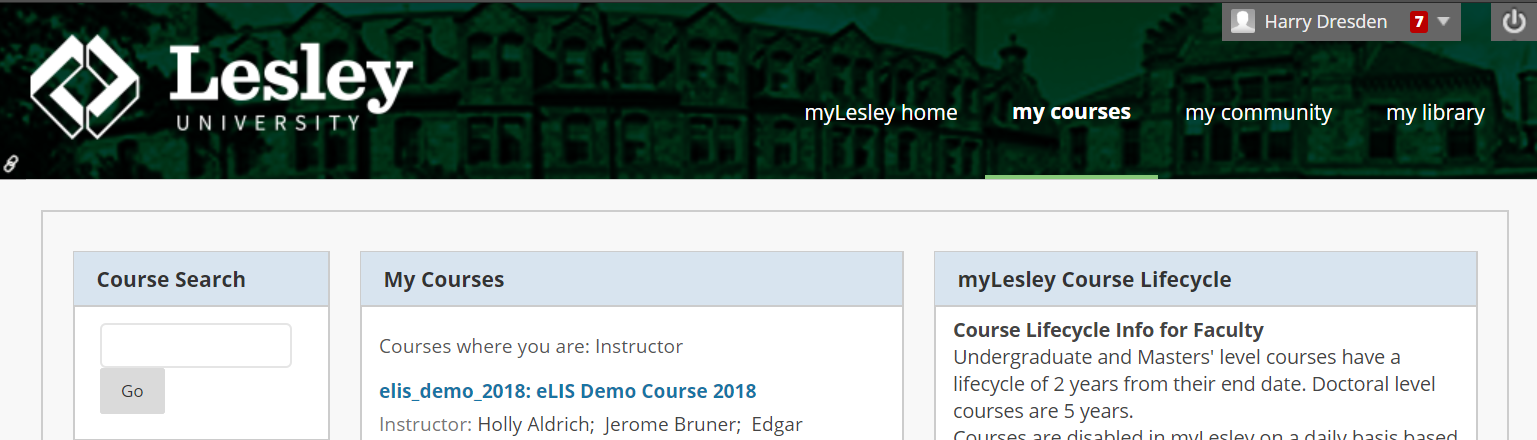 screenshot of myLesley courses tab