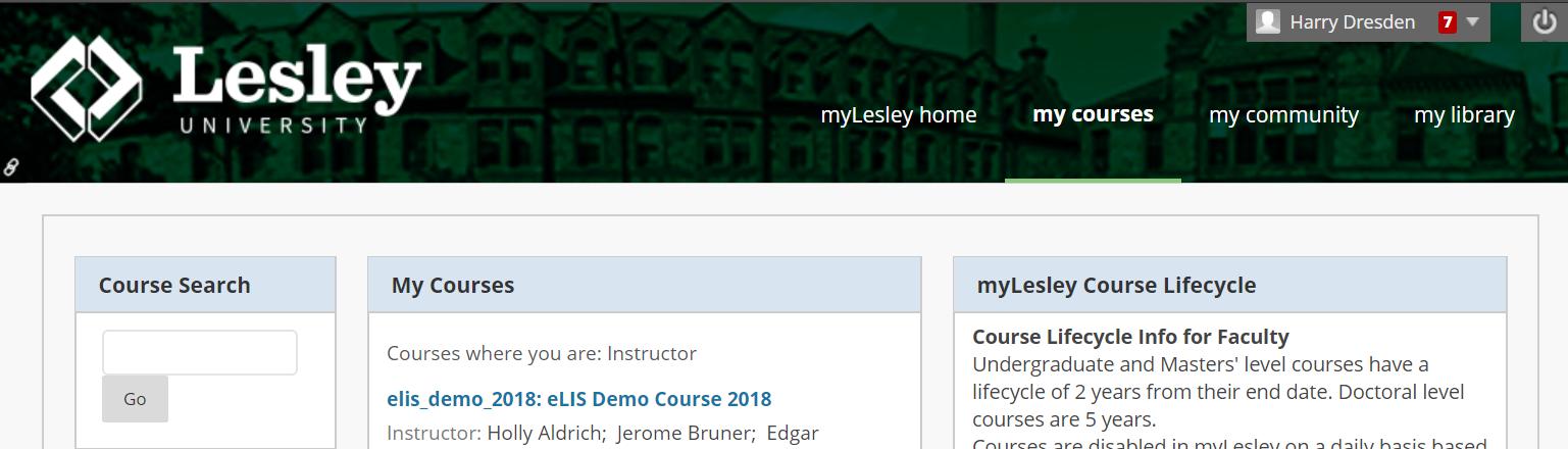 screenshot of myLesley courses tab