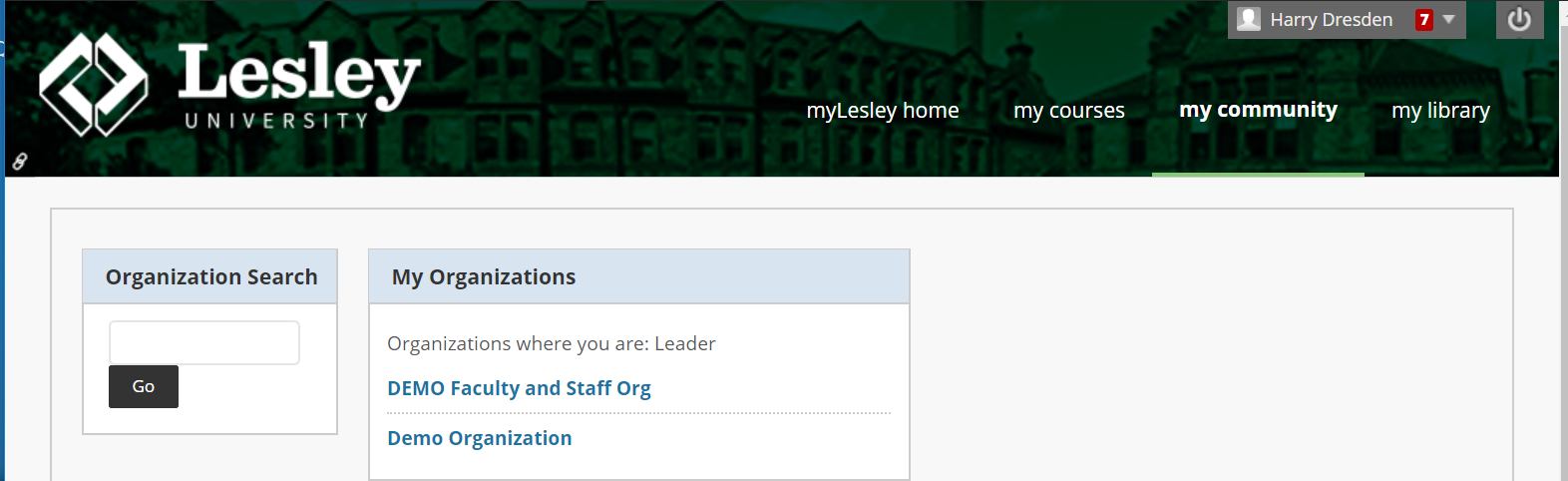 screenshot of myLesley community tab