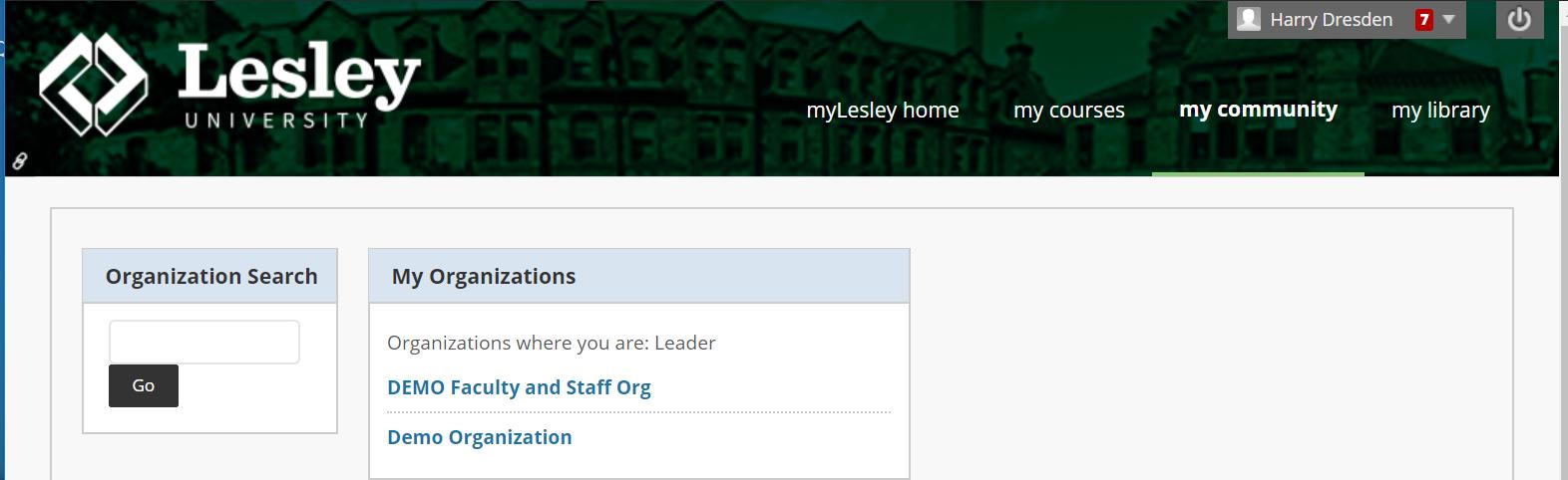 screenshot of myLesley community tab
