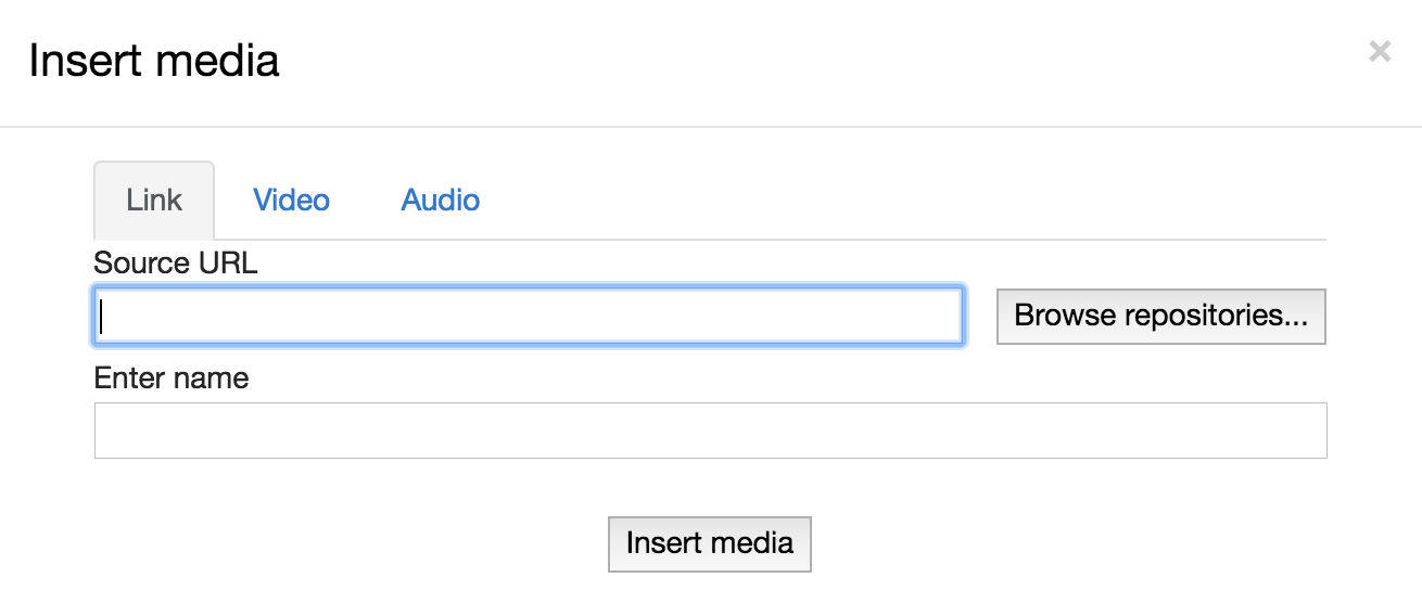 Inserting the audio via web link (URL).