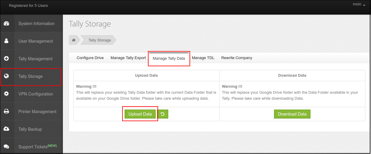Manage Tally Storage in Tally Cloud : HelpDesk @ Enjay IT