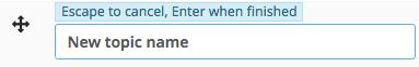 Screenshot shows topic renamed to New Topic Name