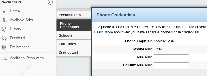 Example of phone credential info