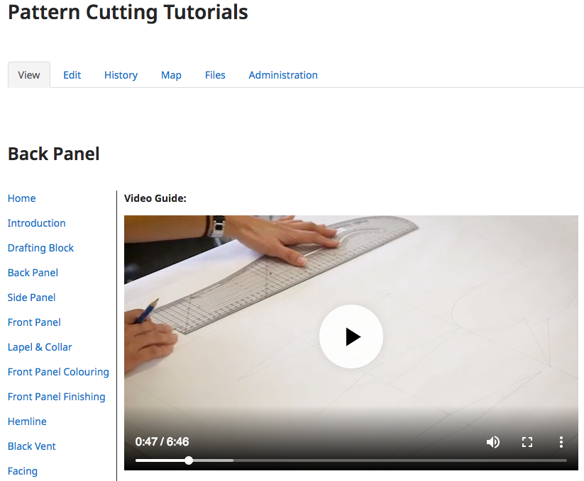 An example of a Wiki from Pattern Cutting Tutorials