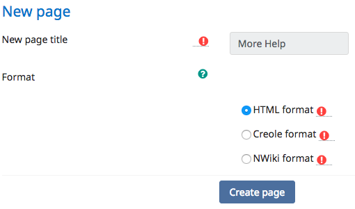 New page dialogue box for creating a new Wiki entry