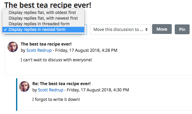 Thread display options in an example post in the Forum Activity