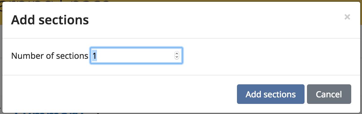 Screenshot shows Number of Sections dropdown menu