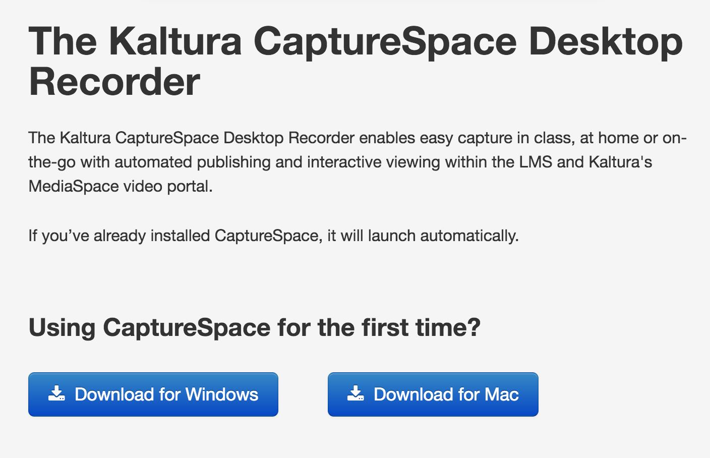 screenshot of CaptureSpace launcher