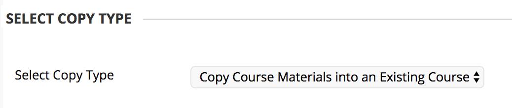 screenshot of select copy type