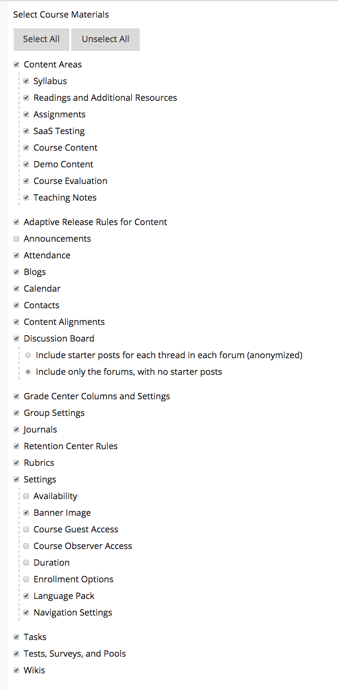 Screenshot of recommended items to copy. As a best practice, select Copy All, deselect Announcements and set Discussion Board to include only the forums, with no starter posts.