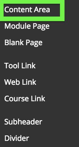 screenshot of Content Area link